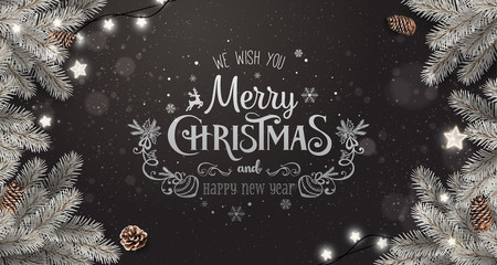 Creative frame made of silver Christmas fir branches. Silver Merry Christmas and New Year Text on dark background with lights, pine cones. Xmas and New Year card. Vector Illustration
