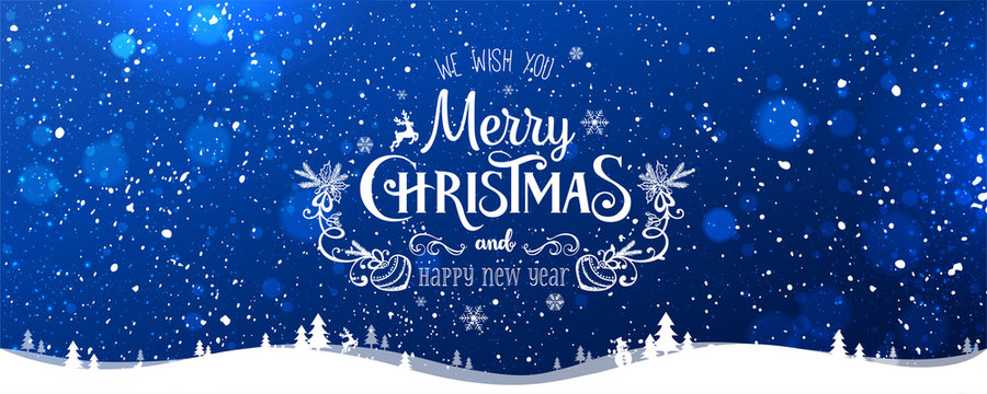 Merry Christmas Typographical on blue winter Christmas background with snowflakes, landscape, stars. Xmas and New Year card. Vector Illustration