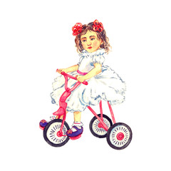 Child girl with red bows in hair in white dress sitting on pink tricycle bicycle, hand painted watercolor illustration, isolated on white
