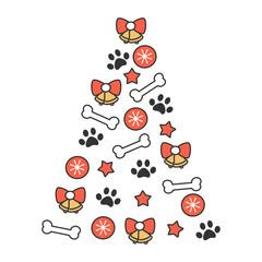 cute cartoon vector christmas tree made of bones, balls, bells, stars and paw prints