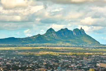 Curepipe Three Mammals mountains on Mauritius panorama