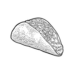 Tacos - mexican traditional food. Vector vintage engraved illustration for menu, poster, web. Isolated on white background.