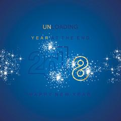 The End 2018 unloading sparkle firework gold blue background