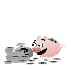 Icon piggy bank , money and hand. flat  illustration isolated on white background. The concept of saving money, investment ,banking or business service. Cute animal clip art cartoon character.