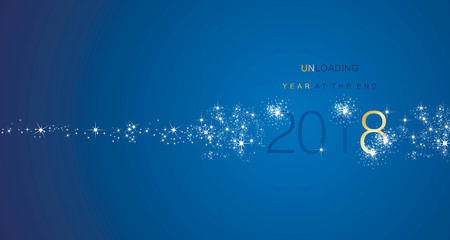 The End 2018 Year greetings unloading firework gold white blue color vector