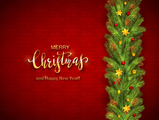 Christmas Lettering and Holiday Decorations on Red Background with Snowflakes