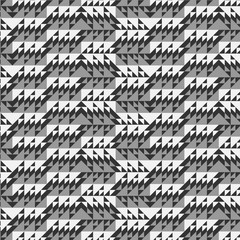 grayscale intricate triangles repeating pattern with 3D illusion for textile, fabric, monochromic background, backdrop, wallpaper and creative surface designs. pattern swatch at eps. file