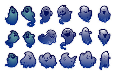 set of vector stickers spooks isolated