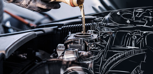 SKETCH - Mechanic fills up the engine with engine oil