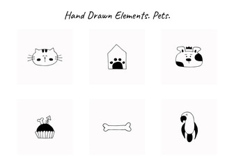 Set of vector hand drawn icons, domestic animals. Logo elements for pets related business.