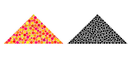 Dotted arrowhead up mosaic icons. Vector arrowhead up icons in multi-colored and black versions. Collages of different spheric elements.