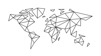 fashion contour map of the world in the style of triangulation for interior, design, advertising, icons, screensaver, covers, walls. vector sketch