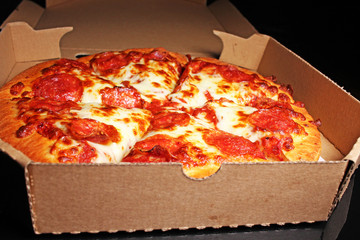 American pizza with lot of cheese delicious fat fast food delivery
