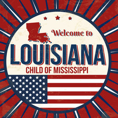 Welcome to Louisiana vintage grunge poster