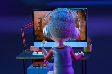 Happy kid boy gamer having fun playing video game on pc computer. Funny child cartoon character of little boy wearing headphones with hamburger in his hand. Gaming concept. 3D render