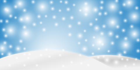 Blue banner with winter landscape and snow for seasonal, Christmas and New Year design