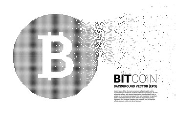 Vector bitcoin icon from small square pixel. Concept for cryptocurrency technology and digital financial .