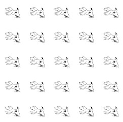 Cute, cheerful and joyful puppy runs. Pattern hand drawing on white background