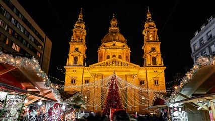 Christmas market on Vorosmarty square before Saint Stephen basilica - Budapest, Hungary