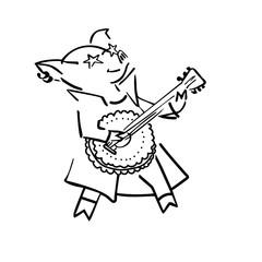 funny vector cartoon rockstar pig with guitar