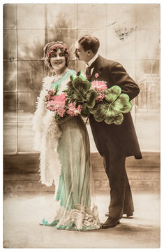 Young happy couple celebrated New year Vintage picture