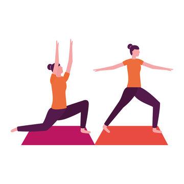 women practicing yoga on mat