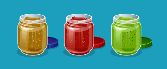 vector set of realistic fruit jam jar glass isolated