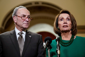 Senate Minority Leader Chuck Schumer (D-NY) and House Minority Leader Nancy Pelosi (D-CA) speak to the media ahead of a possible partial government shut down in Washington