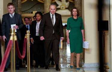 Senate Minority Leader Chuck Schumer (D-NY) and House Minority Leader Nancy Pelosi (D-CA) arrive to speak to the media ahead of a possible partial government shut down in Washington