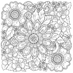 Ethnic floral zentangle, doodle background pattern in vector. Henna paisley mehndi tribal design element. Black and white pattern for coloring book for adults and kids