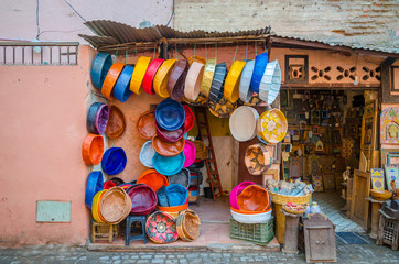 Street of Marrakech market with traditional souvenirs, Morocco
