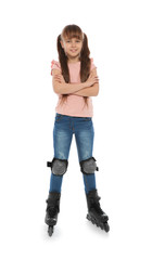 Full length portrait of girl with inline roller skates on white background