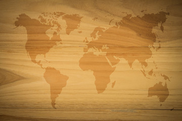 World map vintage pattern  for background in color tone/Wood brown texture background. wood all antique cracking furniture painted weathered white vintage peeling wallpaper.