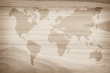 World map vintage pattern for background in color tone/ Wood plank brown texture background. Wood all antique cracking furniture painted weathered white vintage peeling wallpaper.