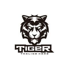 Tiger illustration mascot logo design, line art black and white, tiger head vector icon
