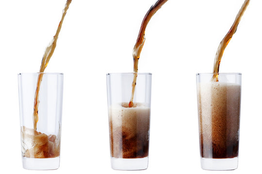 cola pouring into glass isolated on white. Collection of pictures soda poured in glass