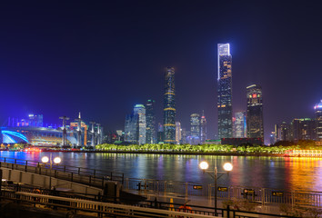 Night view of Guangzhou city, China
