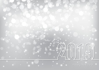 Happy New Year 2019 theme with abstract silver bokeh festive background, Vector illustration