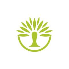 abstract green palm tree circle logo vector