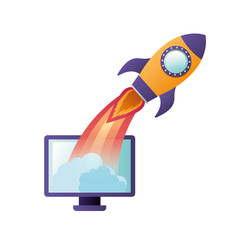 computer screen with flying rocket isolated icon