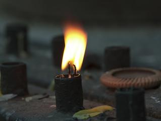 Candlelight closeup with macro lens.