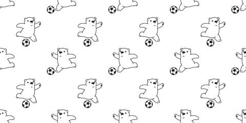 Bear seamless pattern vector polar Bear soccer football cartoon scarf isolated tile background repeat wallpaper illustration white