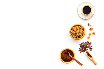 coffee bean and cup of americano on white table background top view mockup