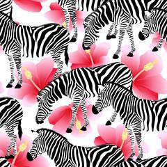 Zebra on pink hibiscus background, seamless pattern. Black and white strip, wild animal texture. design trendy fabric,  vector illustration.