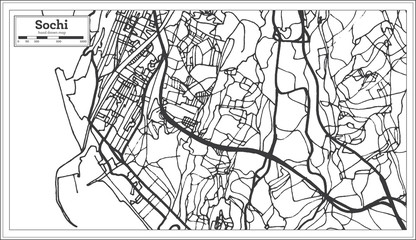 Sochi Russia City Map in Retro Style. Outline Map.