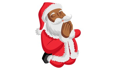 Vector cartoon illustration of santa claus praying. Isolated on white background.