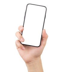 Hand holding smartphone and show touch screen, suitable for advertising. have copy space and clipping path.