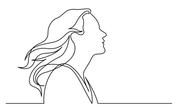 continuous line drawing of isolated on white background profile portrait of happy woman enjoying life
