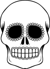 empty mexican sugar skull isolated on white, can be used for coloring book, day of the dead (dia de muertos) tattoo
