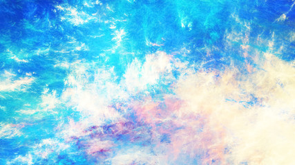Abstract blue and yellow surreal clouds. Expressive brush strokes. Fractal background. 3d rendering.